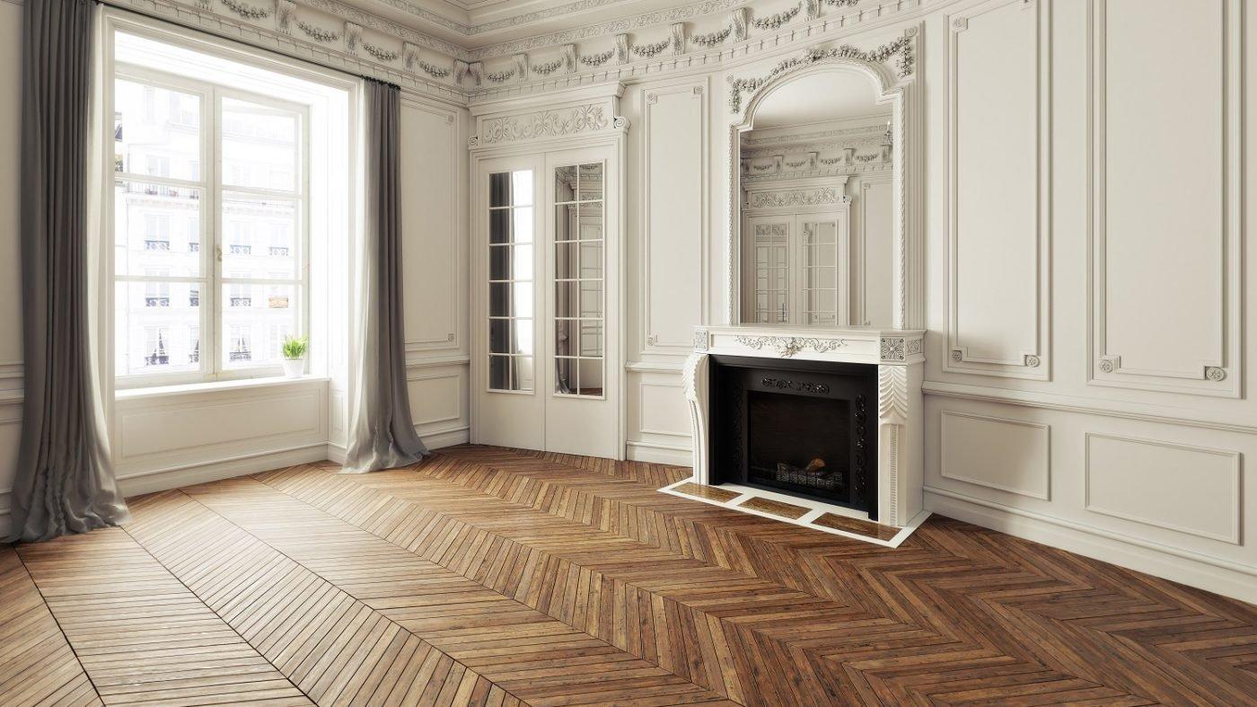 Metro Flooring Contractors - Beautiful herringbone wood floor in Victorian style living room